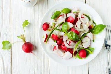Fresh radish in a salad
