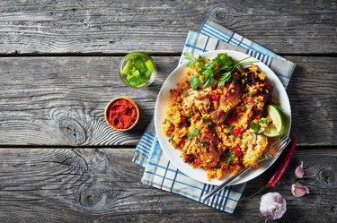 Arroz con pollo, spanish cuisine, white long grain rice with chicken and vegetables