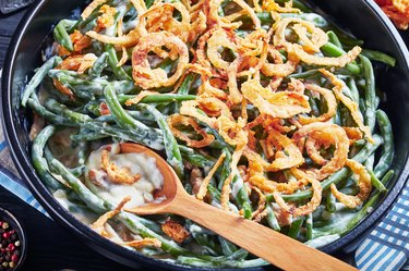 Homemade Green Bean Casserole topped with French crispy fried onions