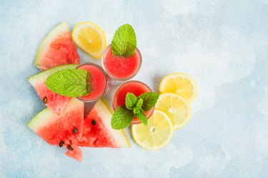 Summer fresh healthy liquid smoothie with watermelon, lemon and mint