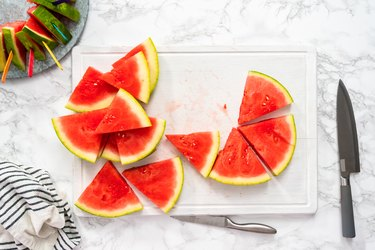 Red seedless watermelon slice popsicles for kids.