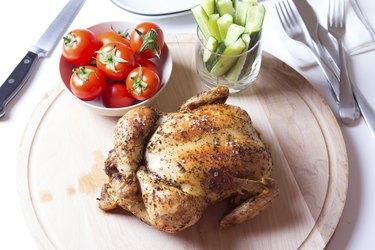 rotisserie chicken on table