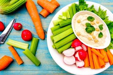 Mediterranean Vegetarian Hummus Dip With Fresh Vegetables