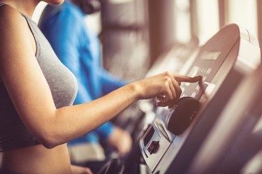 Starting cardio training in gym.