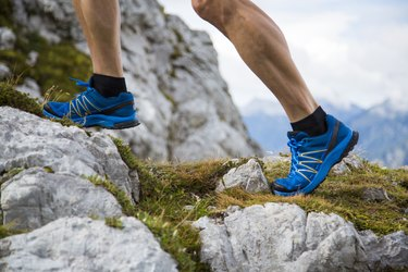 Close up of a man's outdoor running shoes