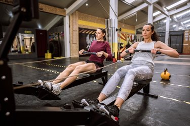Sports Rowing Training Drill in Gym