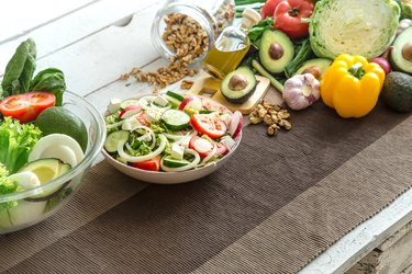 Preparation of healthy food from organic products on the table