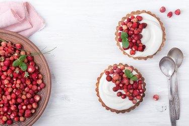 Pastels. Wild strawberry mini tarts