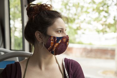 New normal after coronavirus pandemic woman with trendy mask.
