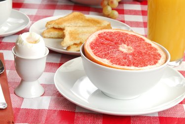 Grapefruit, toast and a soft boiled egg