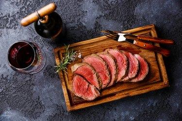 Sliced tenderloin Steak roastbeef and Red wine