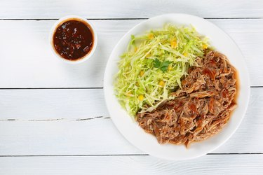 juicy pulled chicken with fresh coleslaw