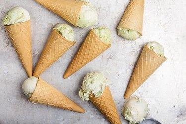Homemade ice cream with avocado.