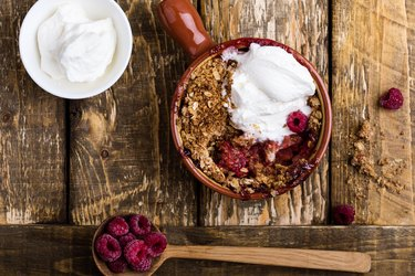 Berry crumble with heavy cream substitute and oats