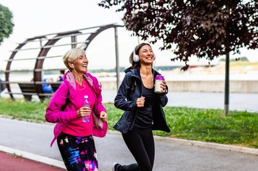 Mother and daughter exercising together