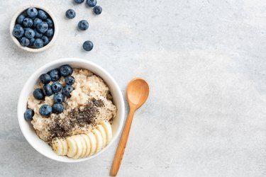 Healthy Breakfast Oatmeal Bowl With Banana, Blueberry