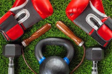 Boxing gloves, skipping rope, dumbbells
