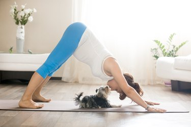 Pregnant woman in maternity workout clothes practicing dog yoga pose with puppy