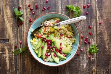 Vegan bulgur salad in bowl