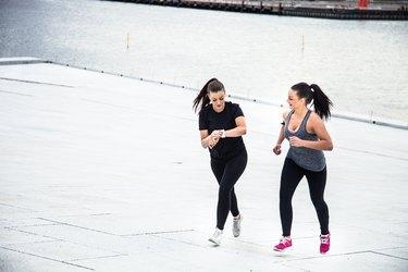 Urban runners excercising in town