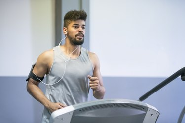 man doing cardio interval treadmill workout