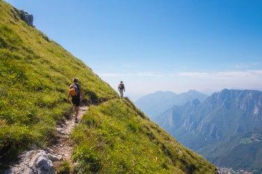 Mountaineers on high mountain path