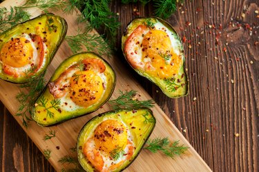 Baked eggs in avocado with smoked salmon low carb high fiber breakfast