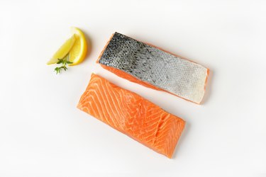 Two raw salmon fillets