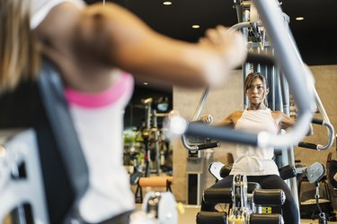 Fitness woman working out at Private gym
