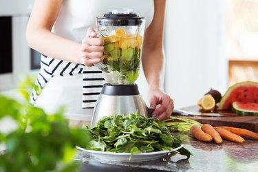 Vegetarian preparing vegetable smoothie recipes