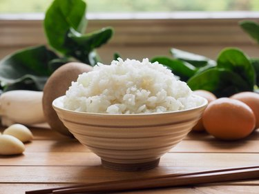Asian food White rice and vegetables