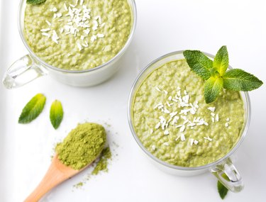 Matcha green tea chia seed pudding, dessert with coconut