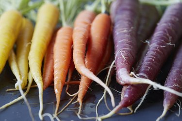 Close up of colorful carrots