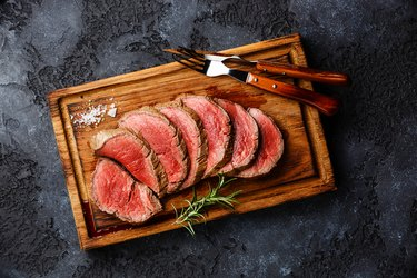 Sliced grilled tenderloin Steak roastbeef