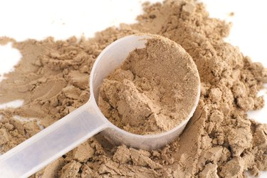 Soy Protein Isolate Powder in a scoop