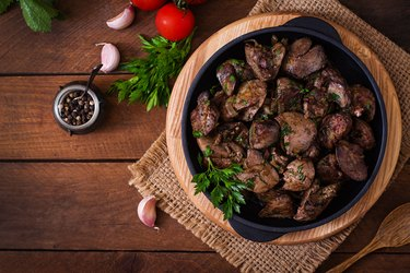 Fried chicken liver with onions and herbs