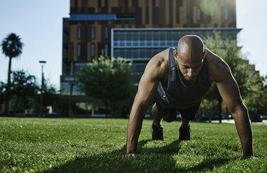 Male athlete doing push-ups