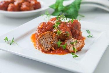 Seitan meat with tomato