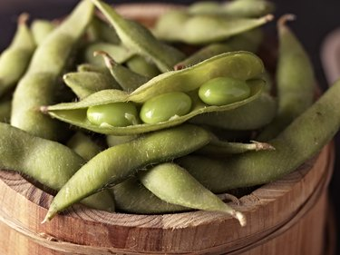 Omega-3-rich edamame in wooden bowl