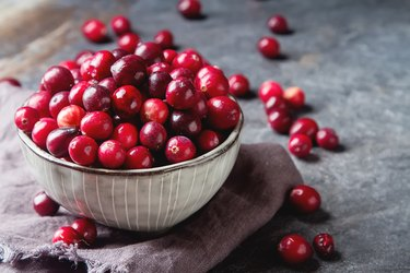 Antioxidant-rich cranberries in a bowl.