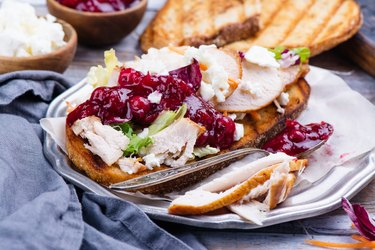 Homemade turkey sandwich with cranberry sauce