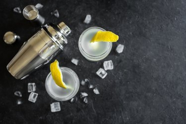 Alcohol Cocktail with lemon and ice