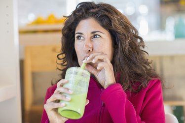 Woman on a fad diet juice cleanse