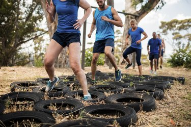 tire obstacle course training as part of an outdoor bootcamp workout