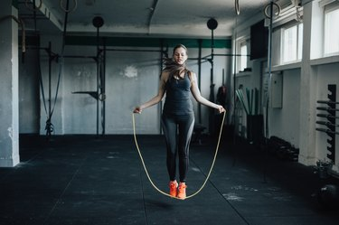 Rope skipping at the gym.