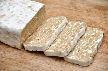 High Angle View Of Tempeh On Table meat substitutes