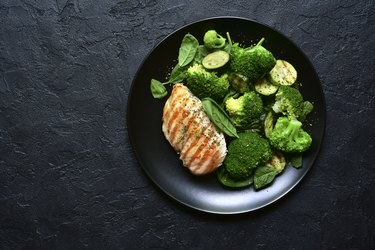 Grilled chicken fillet with green vegetable salad