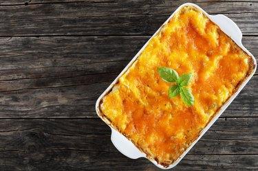 tasty italian lasagna in baking dish