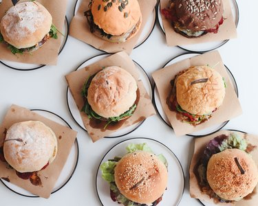 Directly Above Shot Of Burgers On Table