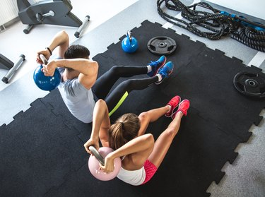 Young couple at the gym